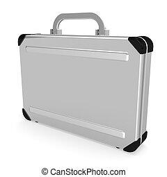 Aluminum Attache Case. 3D render illustration. Isolated on...