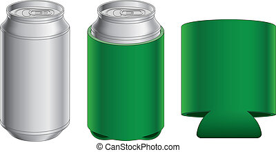 Illustration of an aluminum can, can with collapsible koozie and collapsible koozie without the can. Great for mock ups.
