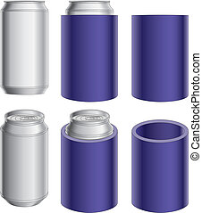 Illustration of an aluminum can, can with koozie and koozie without the can. Great for mock ups.