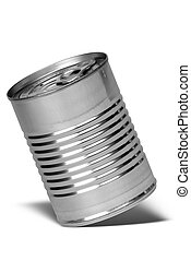Aluminum can with a shadow isolated over a white background
