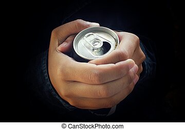 Aluminum can with hand