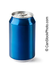 Aluminum can with the ring pull. Isolated on a white.
