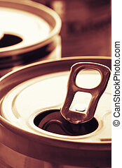 Aluminum cans closeup picture
