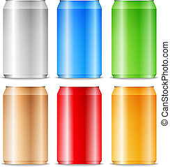 Aluminum cans - Color aluminum cans on white background,...