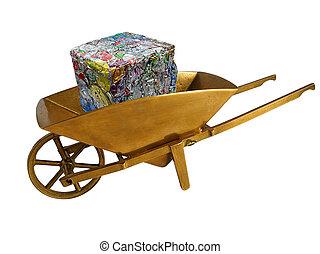 Aluminum cans in golden wheelbarrow