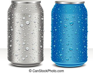 Aluminum Cans in grey and blue with many water drops