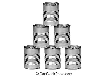 Aluminum cans stacked isolated over a white background