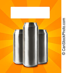 Aluminum cans with blank space for text.