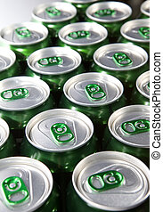 Aluminum cans with keys close-up, focus on center