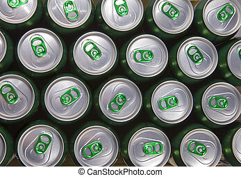 Aluminum cans with keys close-up