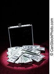 aluminum case with money