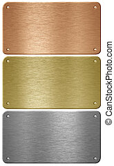 Aluminum, copper and brass metal plates with rivets isolated...