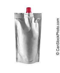 aluminum doy-pack on white background