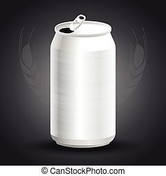 Aluminum drink can template for beer or juice design on gray background