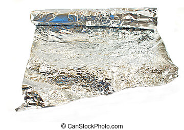 Aluminum foil isolated on white
