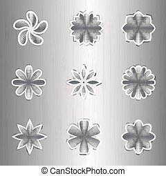 Aluminum icon colors on a silver background
