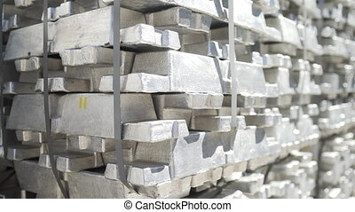 Aluminum ingots. Billets for aluminium profile production at a metallurgical plant