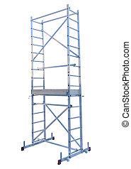 metal step-ladder - Aluminum metal step-ladder isolated...