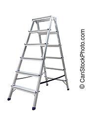 Aluminum metal step-ladder isolated white background