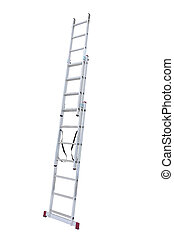metal step-ladder - Aluminum metal step-ladder isolated ...