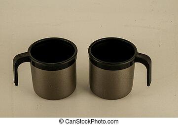 aluminum old mug cup isolated on white