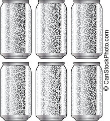 Aluminum packaging for beverages with cool design. Editable vector illustration