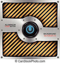 aluminum power button, technology background vector
