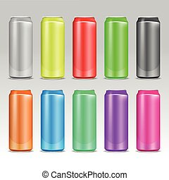 Aluminum realistic colored vector drink cans