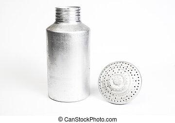 Aluminum saltshaker with the top off - Metal salt shaker...