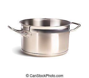 aluminum saucepan on white background