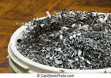Metal scraps in a bucket