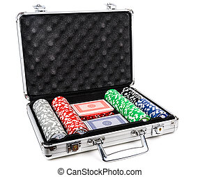Aluminum suitcase for poker. over a white background