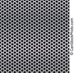 aluminum Technology background with black circle perforated...