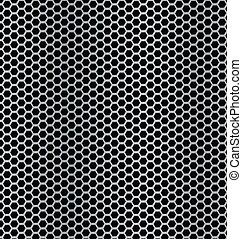 aluminum Technology background with black hexagon perforated carbon speaker grill texture vector illustration
