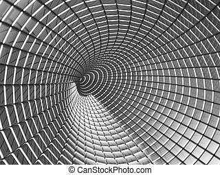 Aluminum tunnel abstract background
