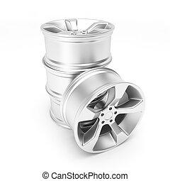 Aluminum wheels isolated on white background