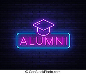 Alumni Neon Sign Vector. Graduation neon symbol, design template, modern trend design, night neon signboard, night bright advertising, light banner, light art. Vector illustration