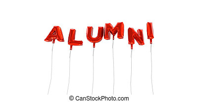 ALUMNI - word made from red foil balloons - 3D rendered. Can be used for an online banner ad or a print postcard.