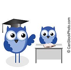 alumno, profesor, búho