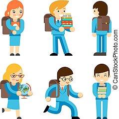 alumnos, con, librosde texto