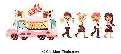 alumnos, dulce, colegiales, chupetes helado, estilo,...