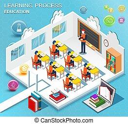 alumnos, estudio, en, el, classroom., concepto, de, learning., isométrico, plano, design., vector, illustration.