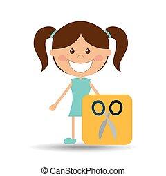 aluno escola, tesouras, menina, feliz, ícone