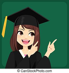 aluno feminino, apontar, tábua