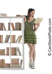 aluno feminino, ler, livro biblioteca, retrato
