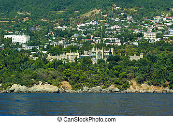 Alupka town and Vorontsov palace. View from the sea. Crimea....