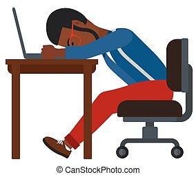 alvás, ember, workplace.