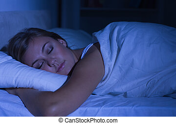 alvás, nő, éjszaka, derült