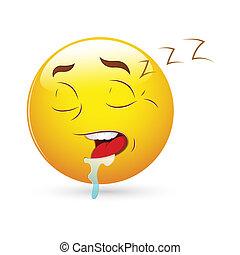 alvás, smiley, kifejezés, ikon