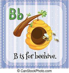 alveare, b, lettera, flashcard